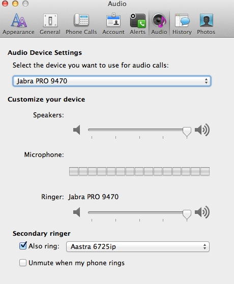USB headset devices not working using Lync for Mac Client